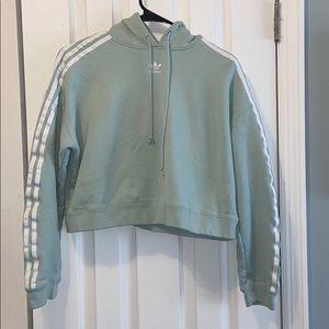 Teal adidas cropped hooded sweatshirt